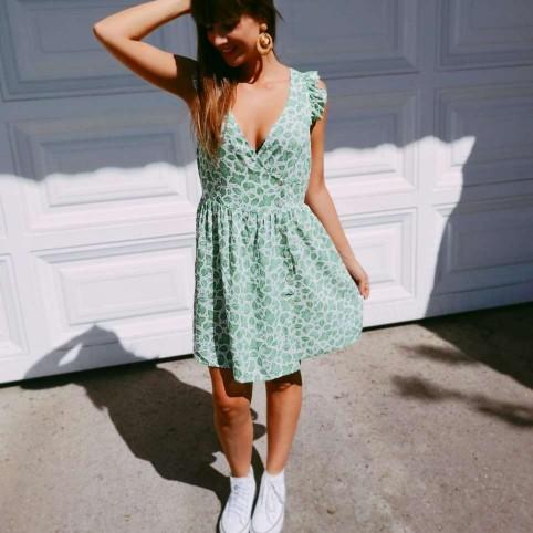 Vestido Corto Hojas Verde