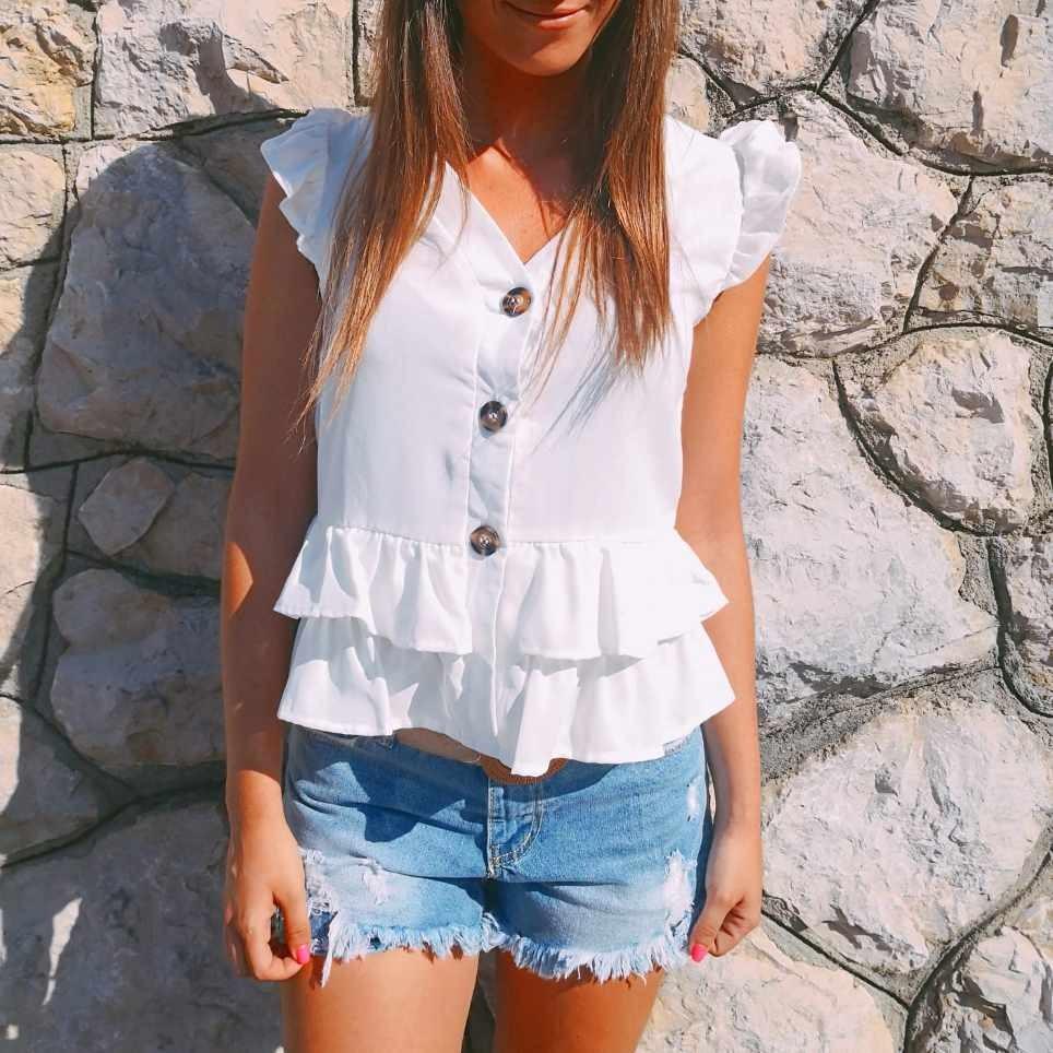 Blusa Volantes FLORENCIA Blanco