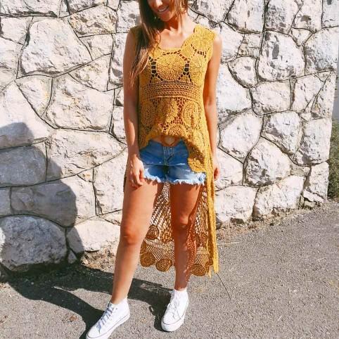 Cuerpo Asimétrico Crochet Mostaza