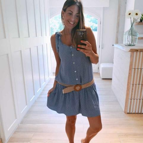 Vestido Estampado CASANDRA Azul Jean
