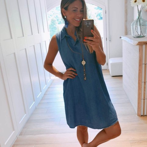 Vestido Denim con Collar