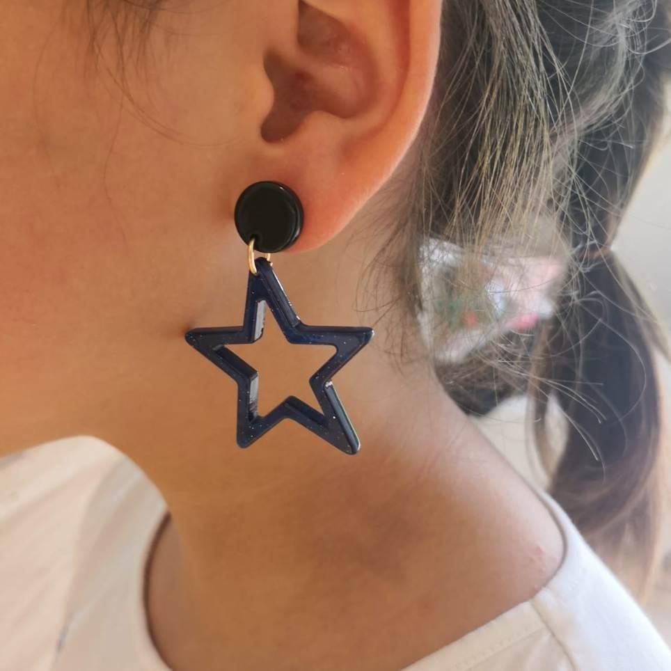 Pendientes Colgantes Estrella Azul