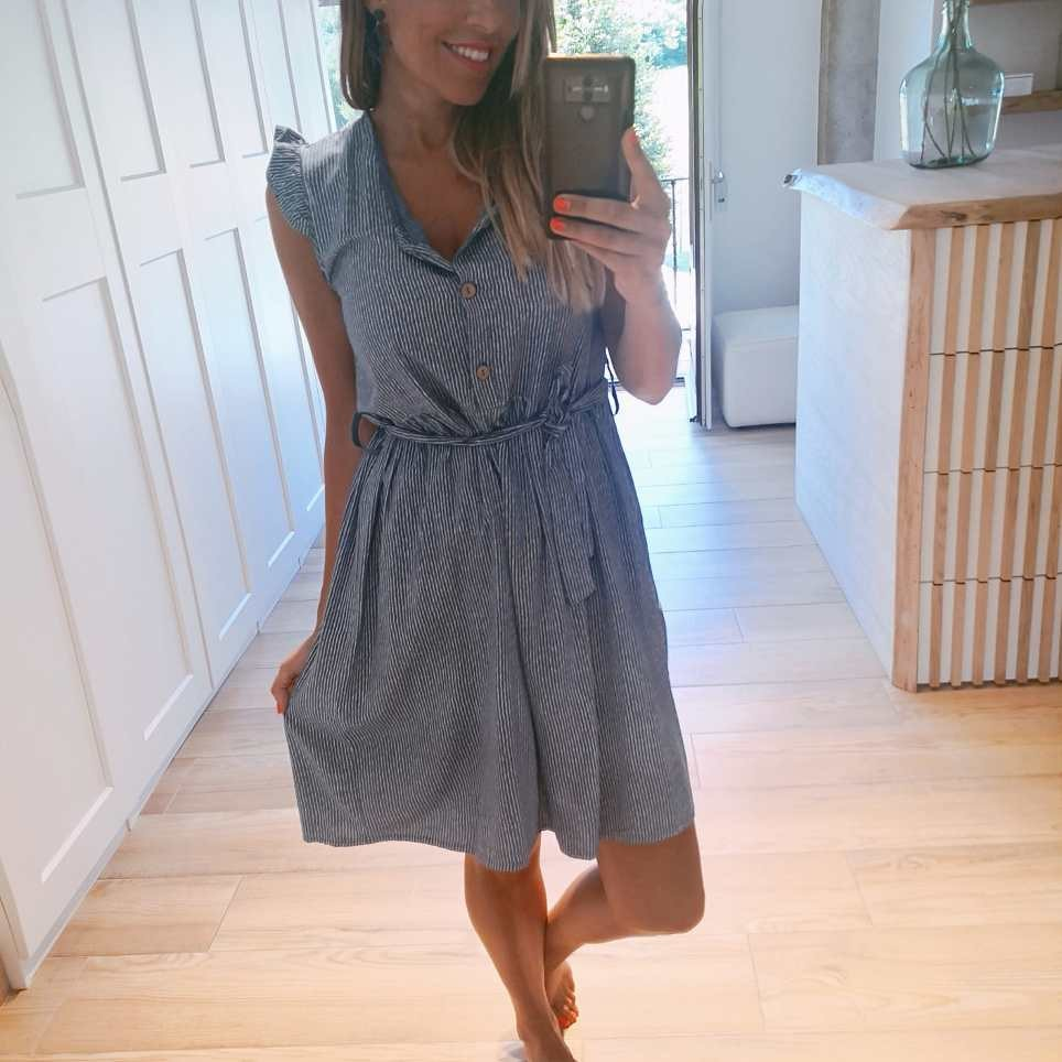 Vestido Rayas ALINE Azul Jean