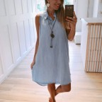 Vestido Denim con Collar Light Blue