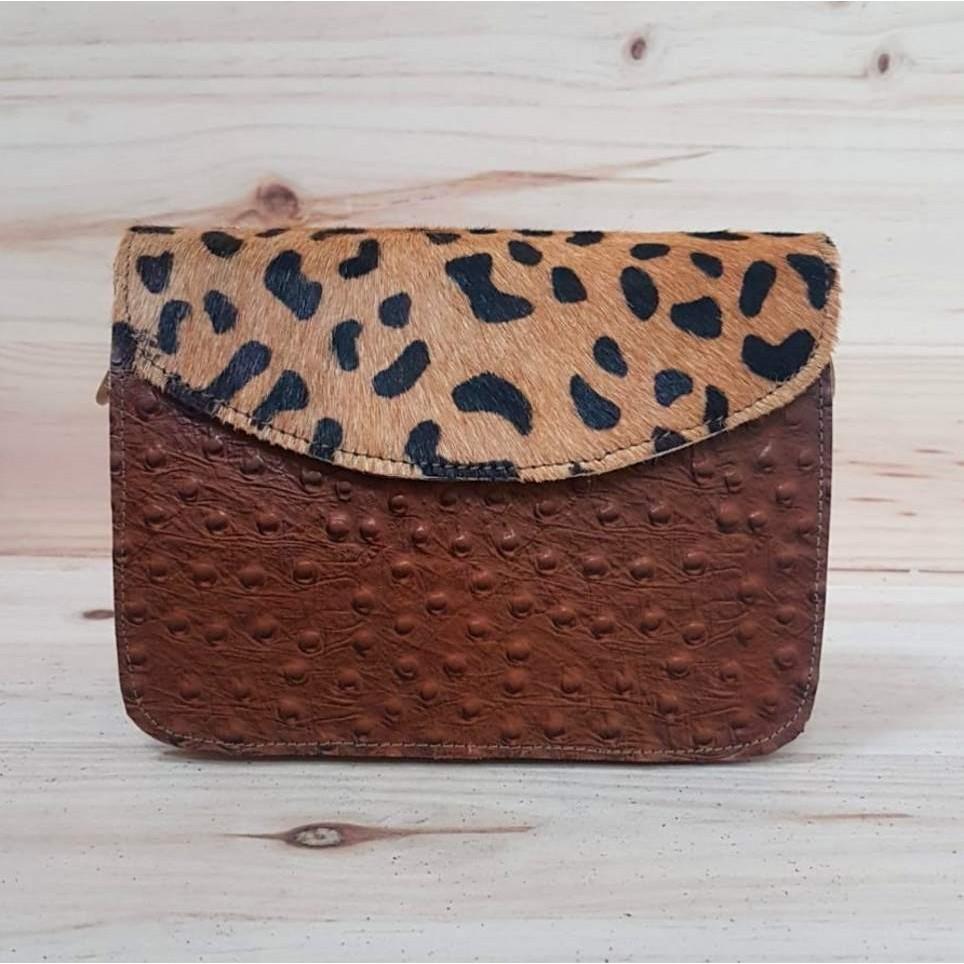 Bolso Piel Relieve Marrón/Leopardo