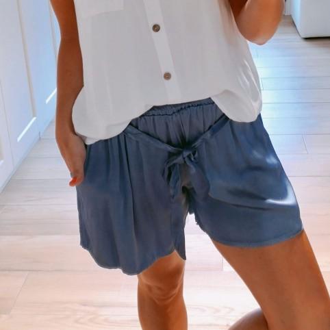 Short Satinado Azul Jean