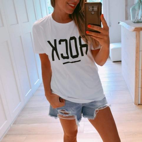 Camiseta Mensaje ROCK Blanco