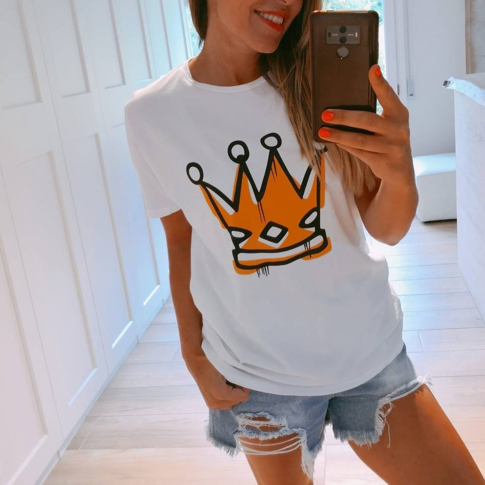 Camiseta Dibujo CORONA Blanco