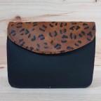 Bolso Piel Liso Negro/Leopardo 325