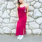 Vestido Flecos WINONA Burdeos