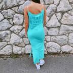 Vestido Flecos WINONA Aguamarina