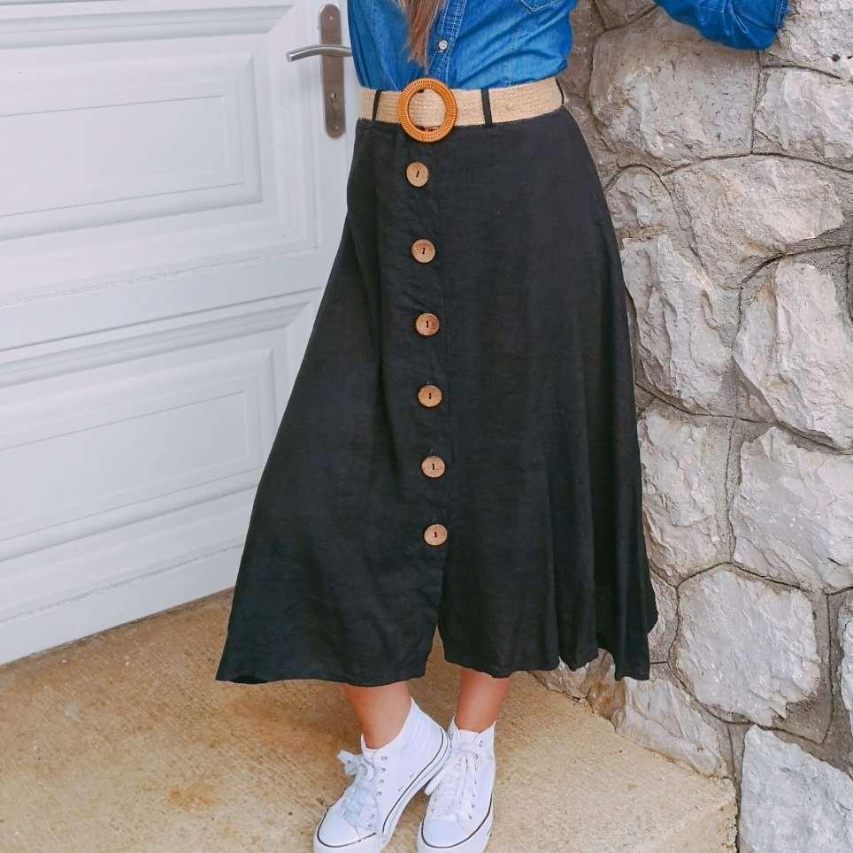 Falda Lino con Cinturón Negro