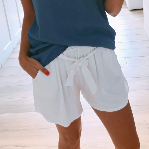 Short Satinado Blanco