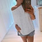 Blusa Oversize Plumas Blanco
