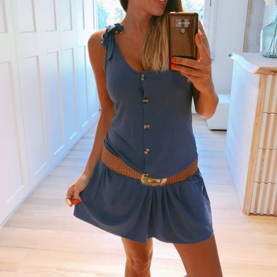 Vestido Volante PAULINA Azul