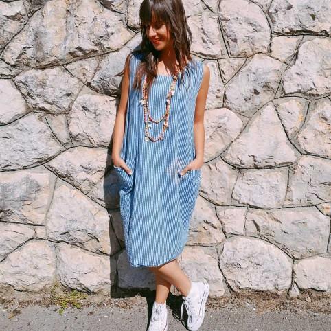 Vestido Rayas MAUREN Azul Jean