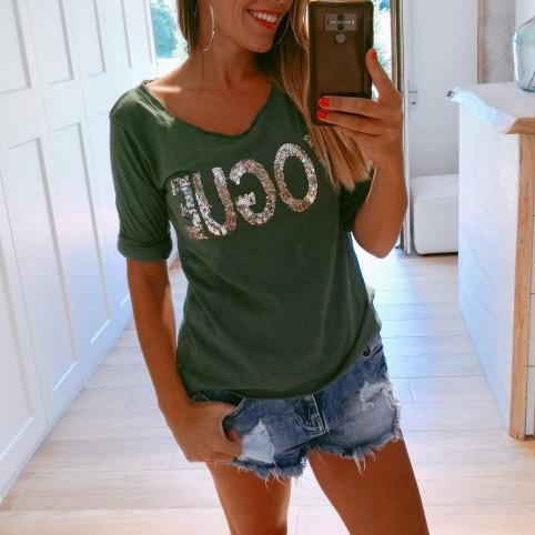 Camiseta Glitter VOGUE Verde Pino