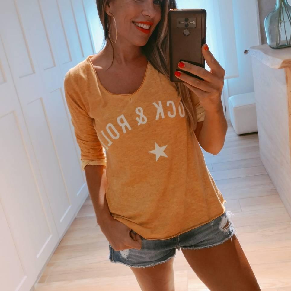 Camiseta Algodón ROCK´N ROLL Mostaza
