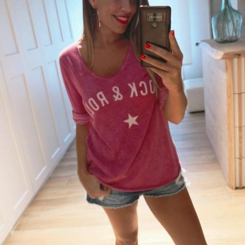 Camiseta Algodón ROCK´N ROLL Ciruela