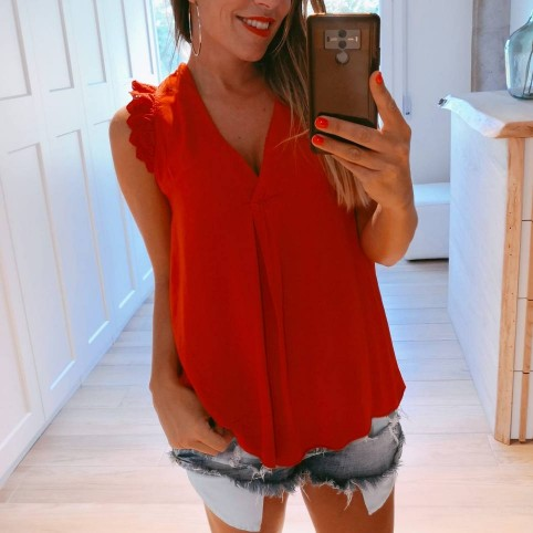 Blusa Volante OLYMPIA Rojo