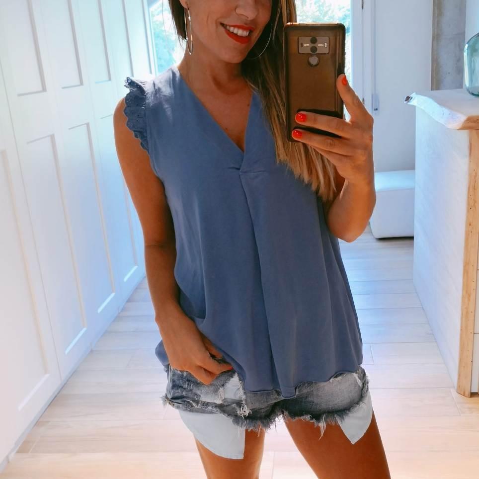 Blusa Volante OLYMPIA Azul Jean