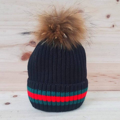 Gorro Liso Pompón Multicolor Negro