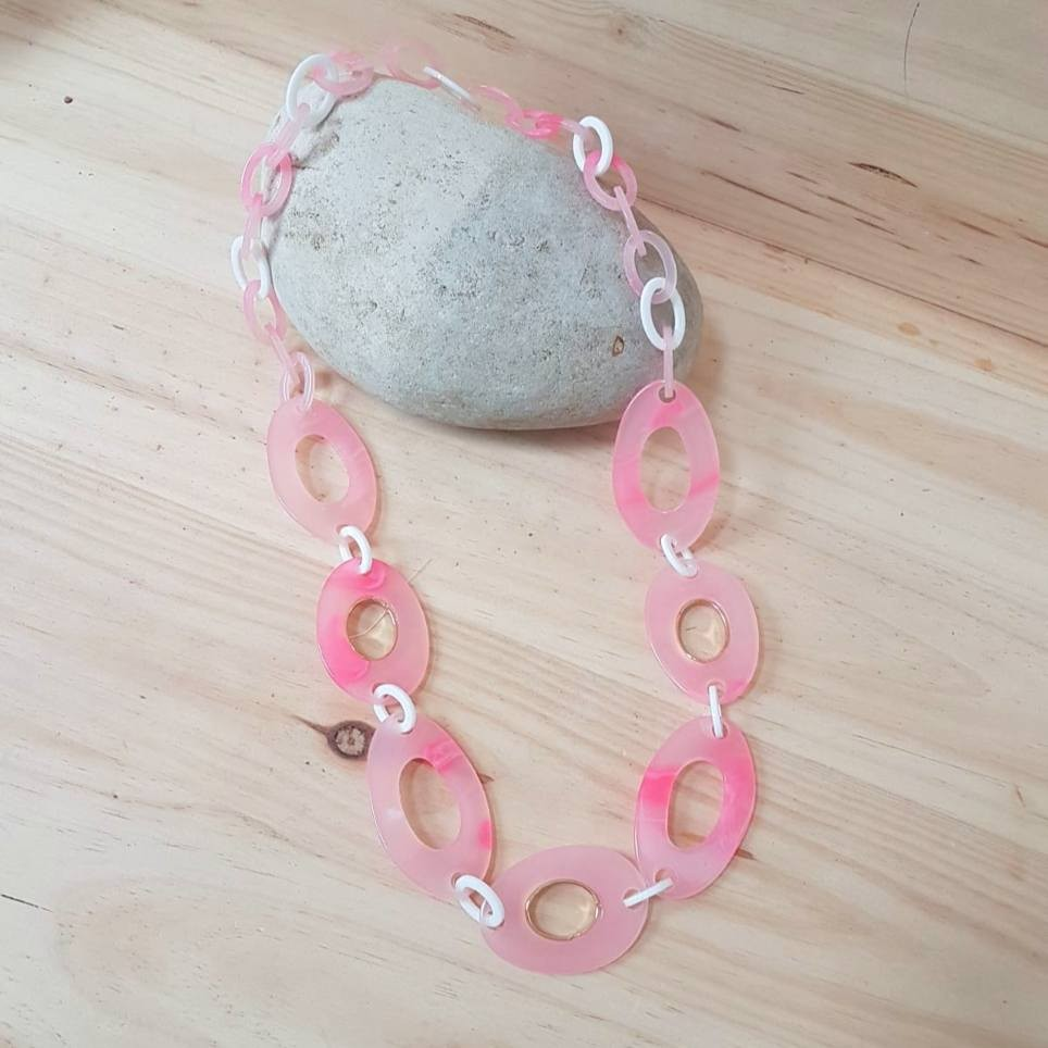 Collar Eslabones Carey Rosa