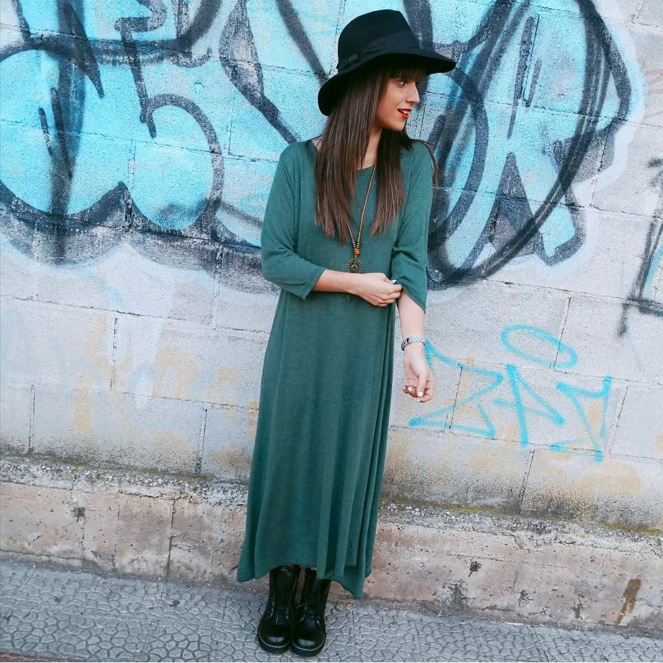 Vestido Punto AMALUR Verde Pino