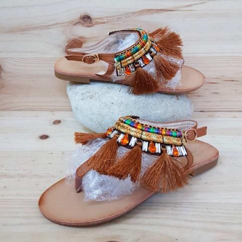 Sandalia Esclava Flecos Camel