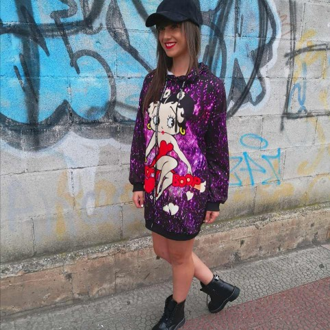 Vestido Sudadera BETTY BOOP STARS Negro