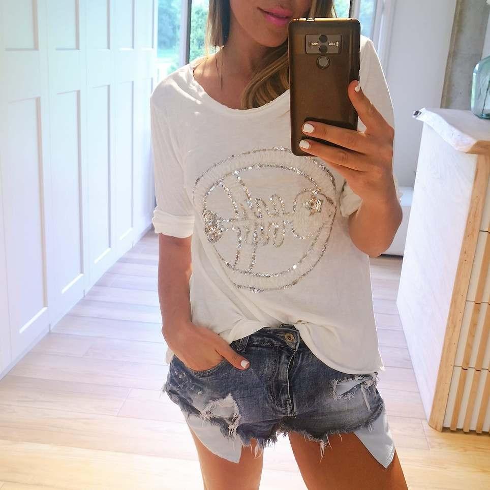 Camiseta Glitter FISH Blanco
