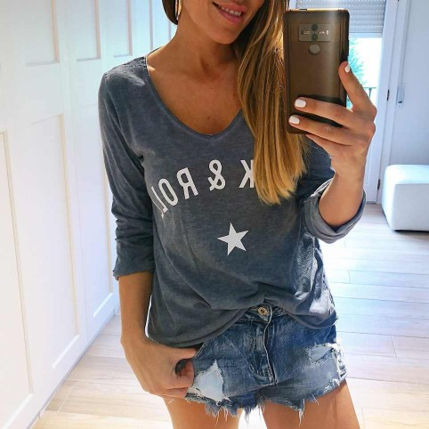 Camiseta Algodón ROCK´N ROLL Azul Jean