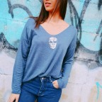 Suéter Calavera Glitter Azul Jean
