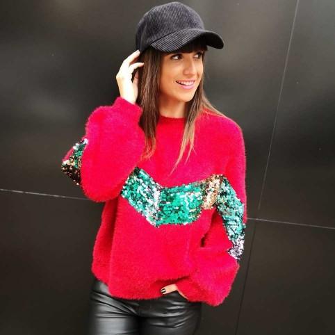 Jersey Glitter CARNABY Rojo