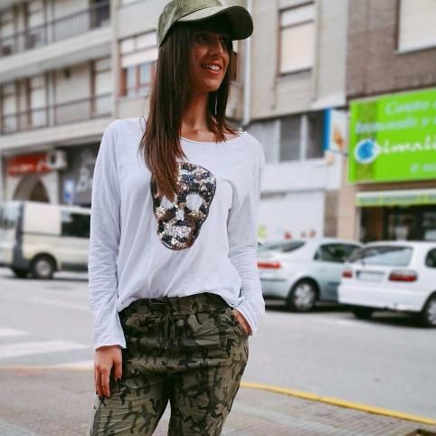 Camiseta Glitter SCARY Blanco