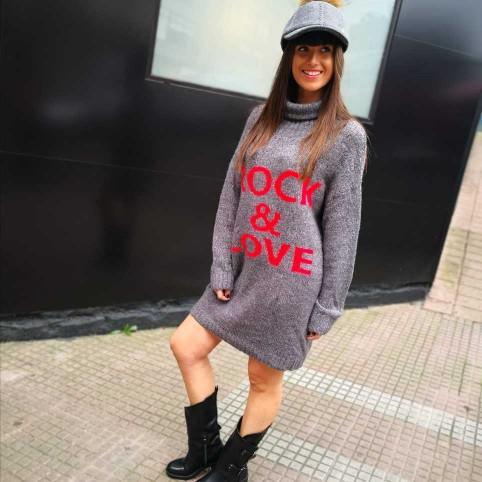 Vestido Punto ROCK & LOVE Gris Plomo