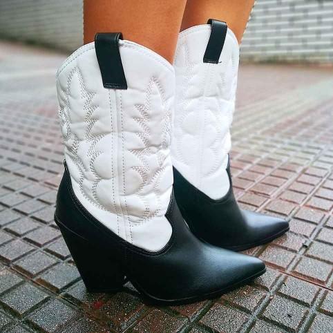 Bota Cowboy Bicolor Blanco/Negro