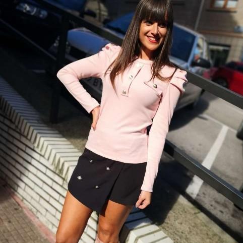 Suéter Abullonado CLEMENCE Rosa