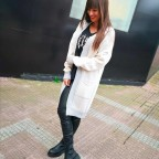 Chaqueta Extra Long Beige/Gris