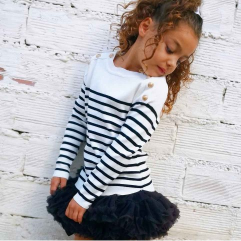 Suéter Niña Rayas Negro