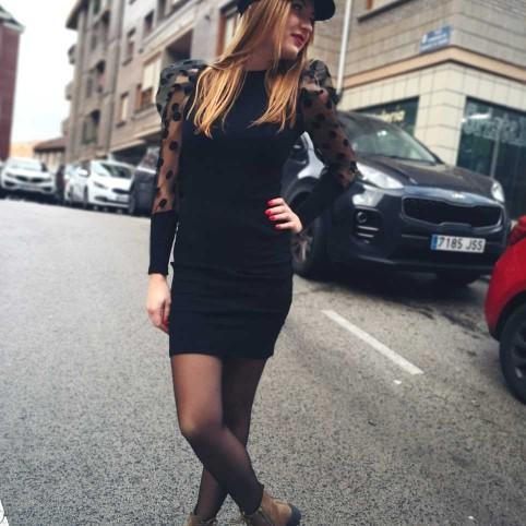 Vestido Abullonado ELSA Negro
