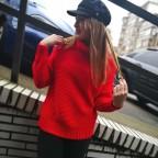 Jersey Básico Cuello Vuelto Rojo