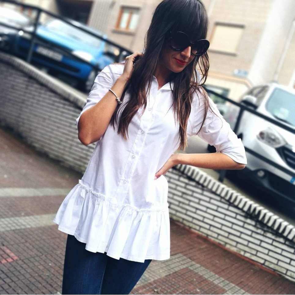 Camisa Volante LIANOR Blanco