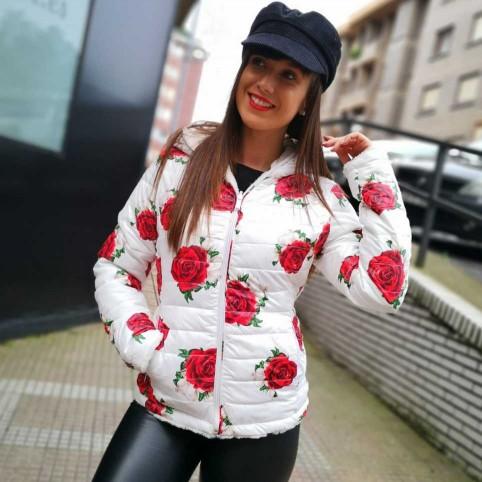 Cazadora Reversible ROSES Blanco/Rojo