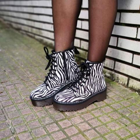 Bota Plataforma Zebra Blanco/Negro