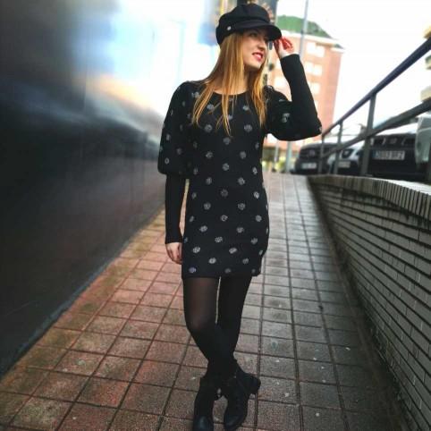 Vestido Punto Lunares Negro/Plata