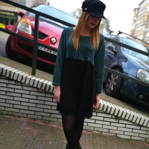 Vestido Chenilla Bicolor Verde/Negro
