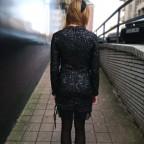 Vestido Lentejuelas y Puntilla Negro
