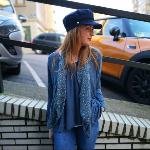 Doble Prenda con Fular Azul Jean