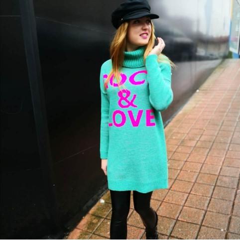 Vestido Punto ROCK & LOVE Verde Esmeralda